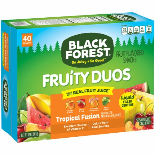 Black Forest Fruity Duos Tropical Fusion Fruit Snacks Perspective: front