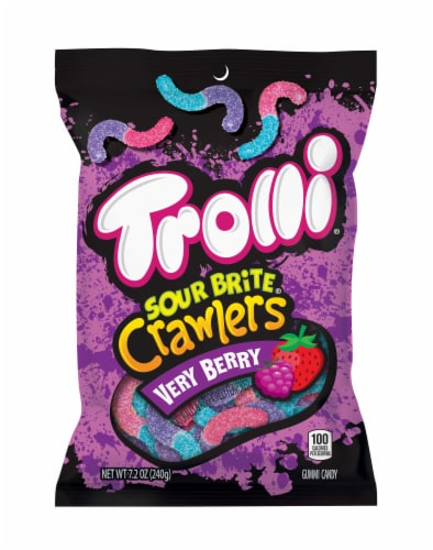 Trolli Very Berry Sour Brite Crawlers Gummi Candy Perspective: front