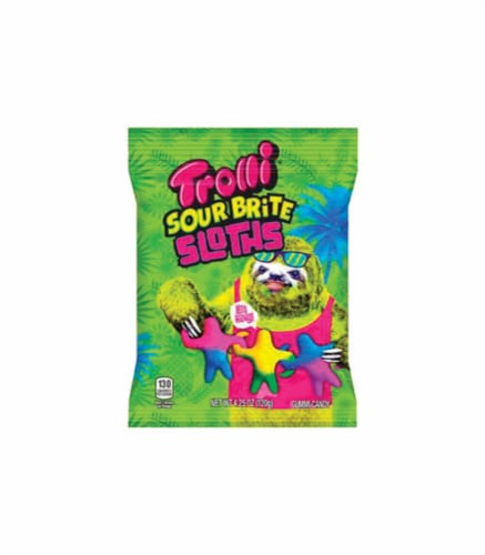 Trolli Sour Bright Sloths Tropical Fruit Gummi Candy 4.25 oz. - Case Of: 1; Perspective: front