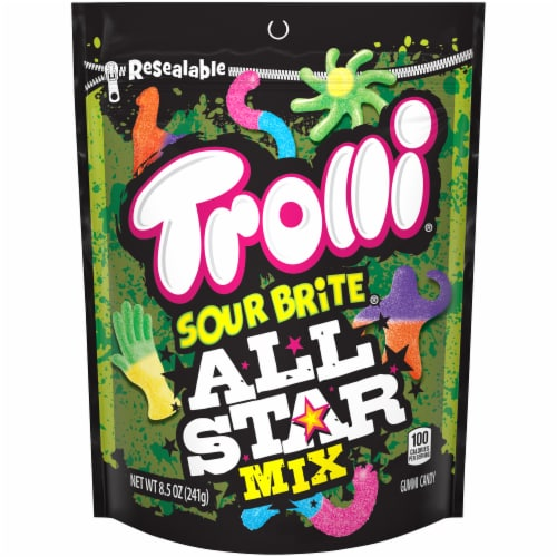 Trolli Sour Brite All Star Mix Gummy Candy Perspective: front