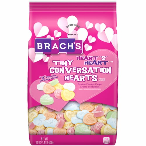 Brach's Heart 2 Heart Tiny Conversation Hearts Candy Perspective: front