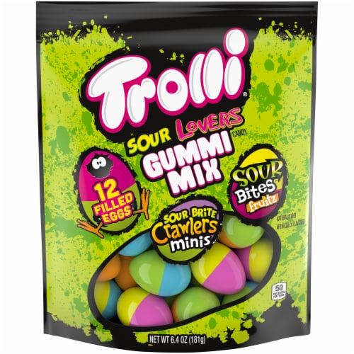 Trolli Sour Lovers Gummi Mix Filled Eggs Easter Candy Perspective: front