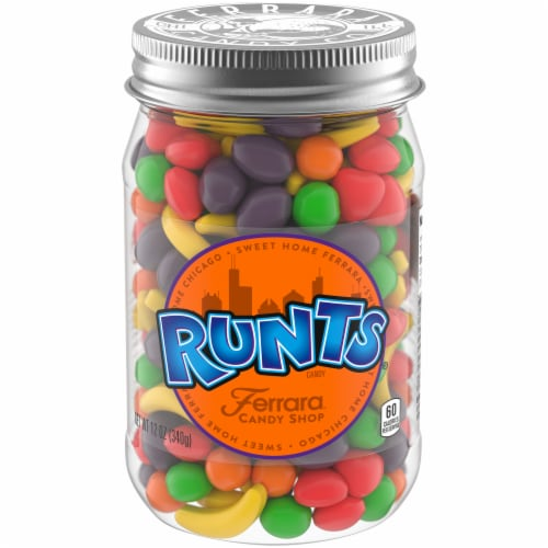 Ferrara Runts Candy Gift Jar Perspective: front