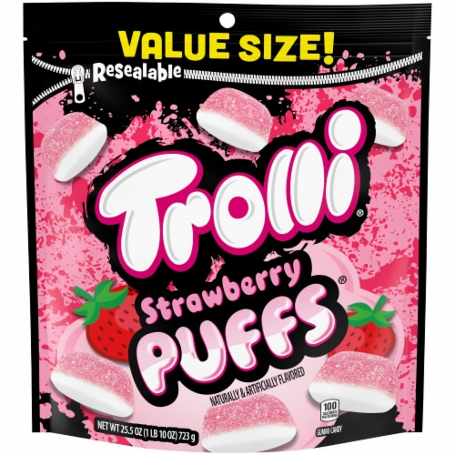 Trolli Strawberry Puffs Gummi Candy Perspective: front