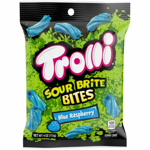 Trolli Sour Brite Bites Blue Raspberry Candy Perspective: front