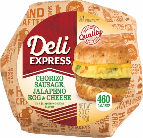 Deli Express Sausage Chorizo Breakfast Sandwich Perspective: front