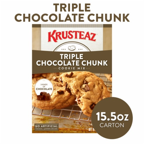 Krusteaz Triple Chocolate Chunk Cookie Mix Perspective: front