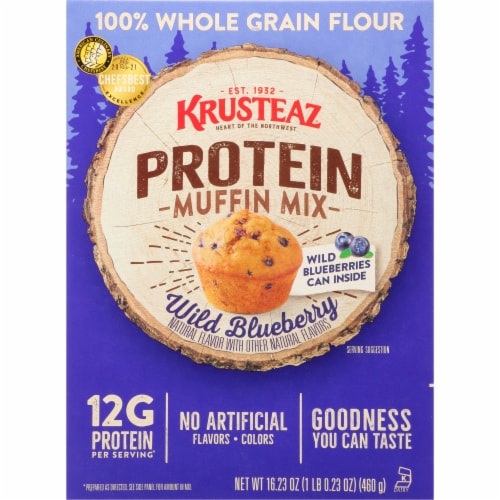 Krusteaz Protein Wild Blueberry Muffin Mix Perspective: front