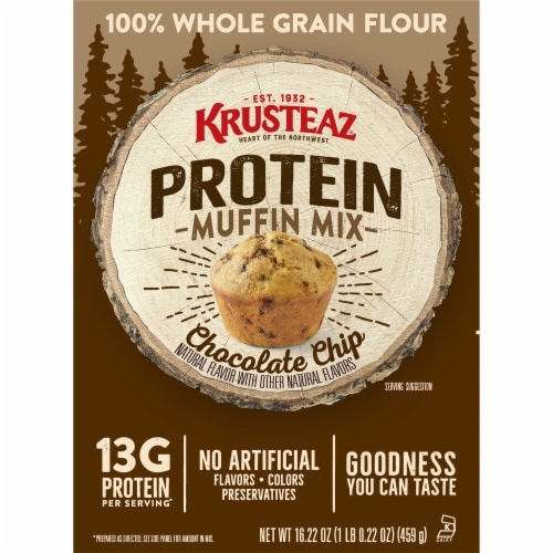 Krusteaz Protein Chocolate Chip Muffin Mix Perspective: front