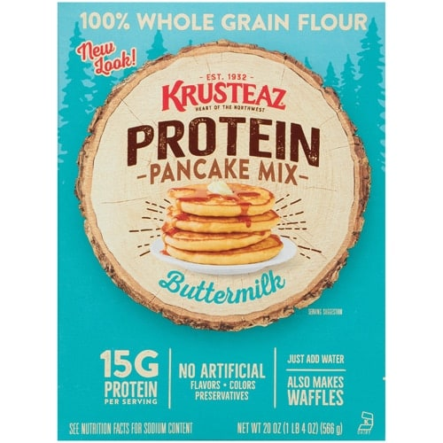 Krusteaz Buttermilk Protein Pancake & Waffle Mix Case Perspective: front