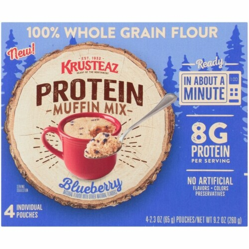 Krusteaz Blueberry Protein Muffin Mix Pouches Perspective: front