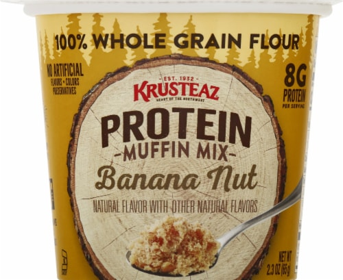 Krusteaz Protein Banana Nut Muffin Mix Pouches Perspective: front
