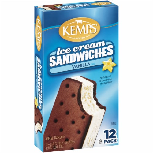 Kemps Vanilla Ice Cream Sandwiches Perspective: front