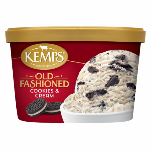Kemps Old Fashioned Cookies & Cream Ice Cream Perspective: front