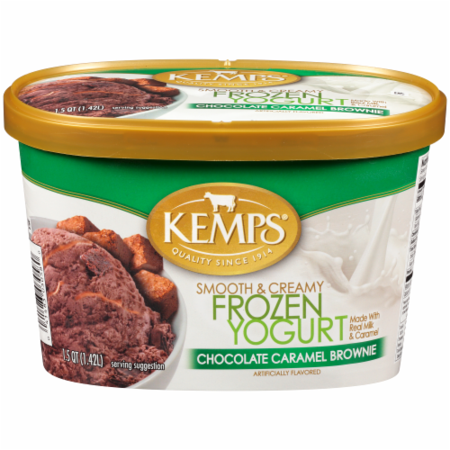 Kemps Smooth & Creamy Chocolate Caramel Brownie Frozen Yogurt Perspective: front