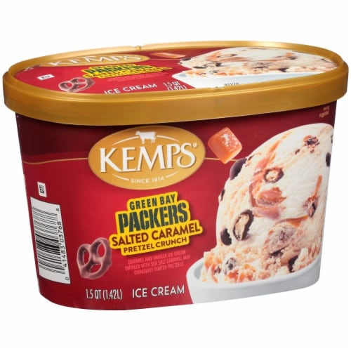 Kemps Green Bay Packers Salted Caramel Pretzel Crunch Ice Cream Perspective: front