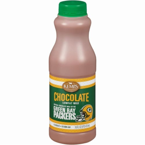 Kemps Green Bay Packers Low-fat Chocolate Milk Perspective: front