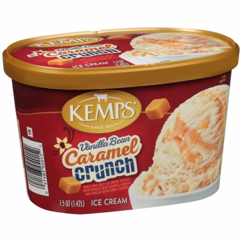 Kemps Vanilla Bean Caramel Crunch Ice Cream Perspective: front