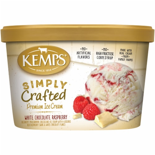 Kemps Simply Crafted White Chocolate Raspberry Premium Ice Cream Perspective: front