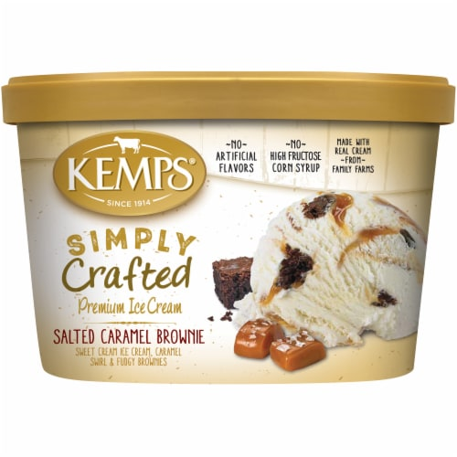 Kemps Simply Crafted Ice Cream - Salted Caramel Brownie Perspective: front