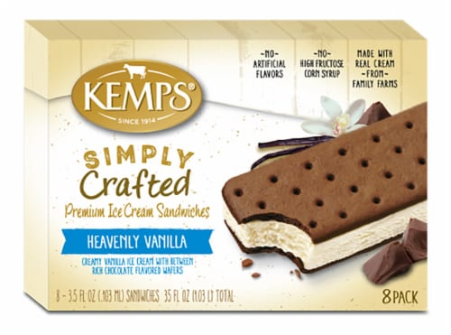 Kemps Simply Crafted Heavenly Vanilla Ice Cream Sandwiches Perspective: front