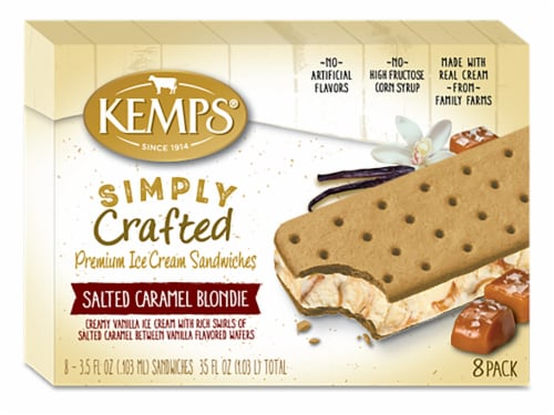 Kemps Simply Crafted Salted Caramel Blondie Ice Cream Sandwiches Perspective: front