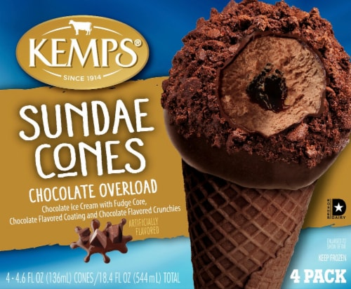 Kemps Chocolate Overload Sundae Cones 4 Count Perspective: front