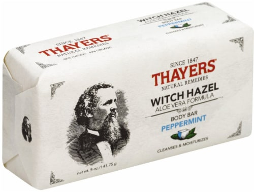 Thayers Peppermint Witch Hazel Aloe Vera Formula Body Bar Perspective: front