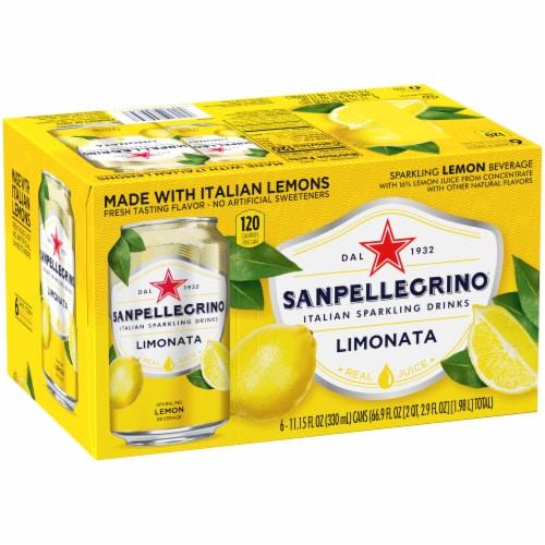 Sanpellegrino Lemon Italian Sparkling Drinks 6 Count Perspective: front