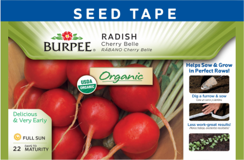 Burpee Cherry Belle Organic Radish Seed Tape - Red Perspective: front