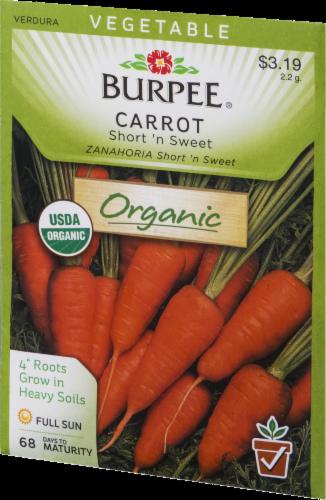 Burpee Short N' Sweet Organic Carrot Seeds - Orange Perspective: front
