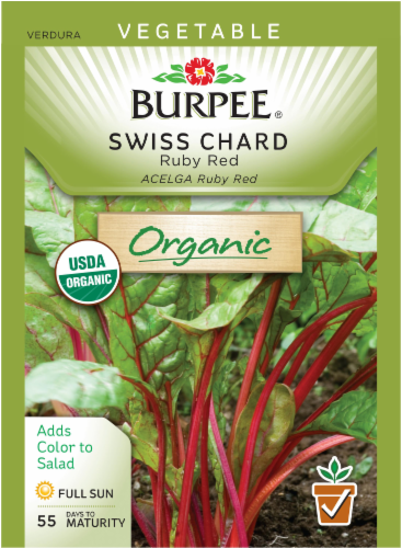 Burpee Organic Ruby Red Swiss Chard Seeds Perspective: front