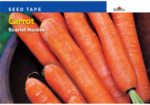Burpee Scarlet Nantes Carrot Seed Tape Perspective: front