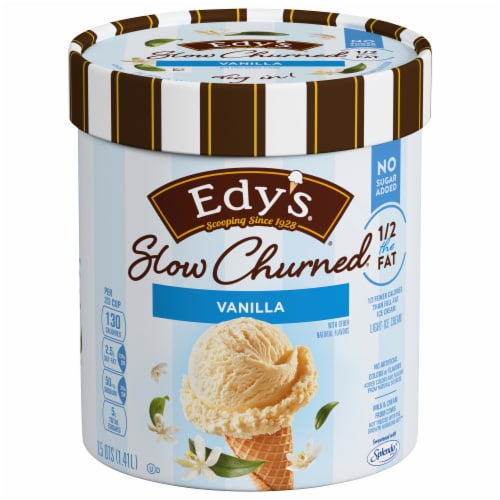 Dreyer's Slow Churned No Sugar Added Vanilla Light Ice Cream Perspective: front