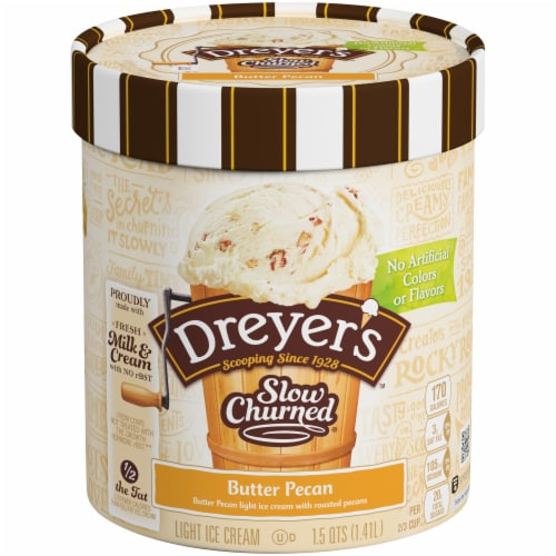 Dreyer's Slow Churned Butter Pecan Light Ice Cream Perspective: front
