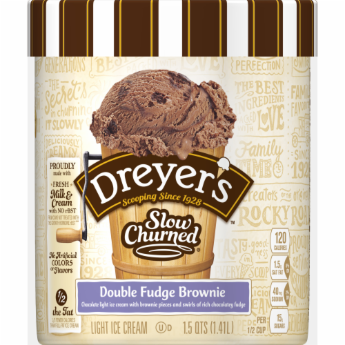 Dreyer's Slow Churned Double Fudge Brownie Light Ice Cream Perspective: front