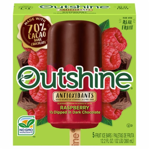 Outshine Raspberry 1/2 Dipped in Dark Chocolate Fruit Ice Bars Perspective: front