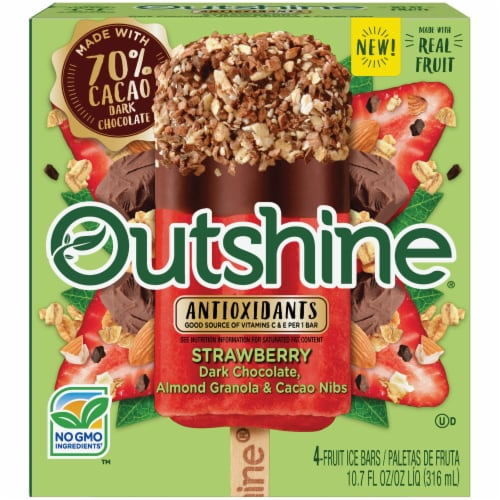 Outshine Strawberry Dark Chocolate Almond Granola & Cacao Nibs Fruit Ice Bars Perspective: front