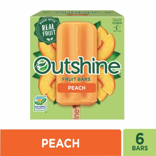 Outshine Peach Fruit Bars 6 Count Perspective: front