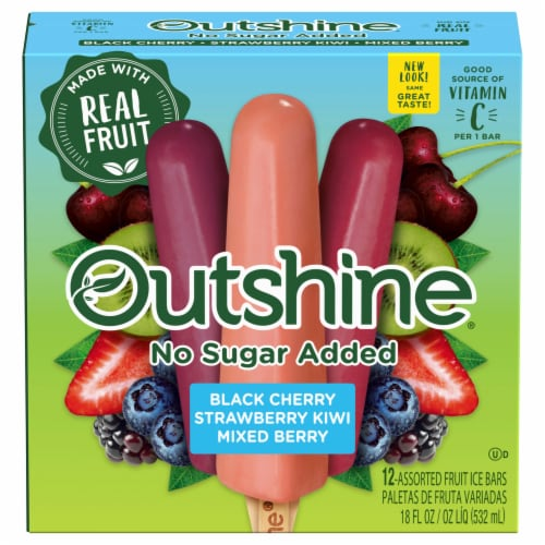 Outshine Black Cherry Strawberry Kiwi & Mixed Berry No Sugar Added Fruit Ice Bars Perspective: front