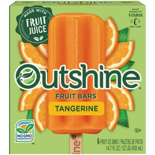 Outshine Tangerine Fruit Bars 6 Count Perspective: front