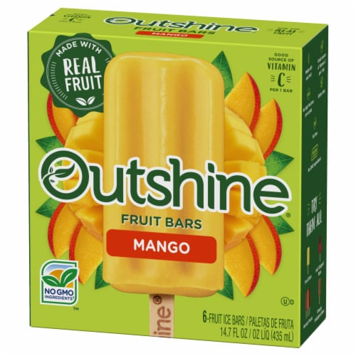 Outshine Mango Fruit Ice Bars Perspective: front