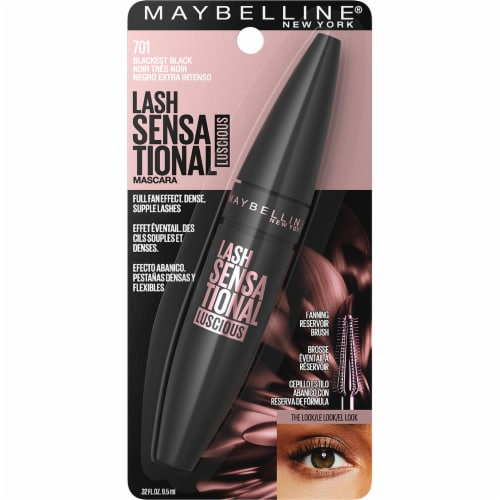Maybelline Lash Sensational Luscious 701 Blackest Black Washable Mascara Perspective: front