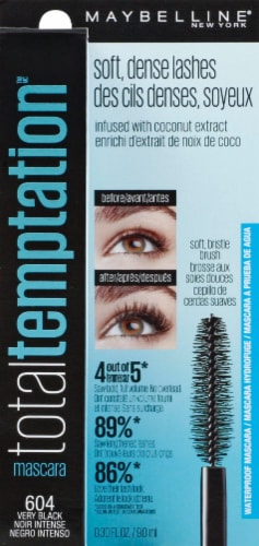Maybelline Total Temptation 604 Very Black Waterproof Mascara Perspective: front