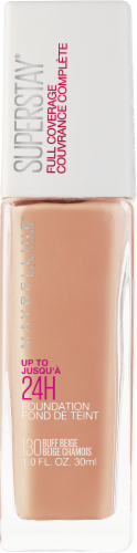 Maybelline Superstay 130 Buff Beige 24-Hour Full Coverage Liquid Foundation Perspective: front
