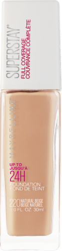 Maybelline Superstay 24-Hour Full Coverage 220 Natural Beige Liquid Foundation Perspective: front