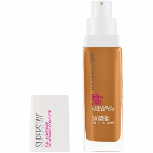 Maybelline Super Stay Full Coverage Cappuccino 340 Liquid Foundation Perspective: front