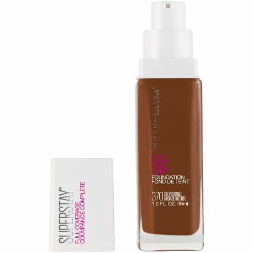 Maybelline Super Stay Full Coverage Deep Bronze 370 Liquid Foundation Perspective: front