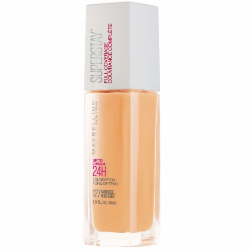 Maybelline Super Stay Full Coverage Sand Beige Liquid Foundation Perspective: front