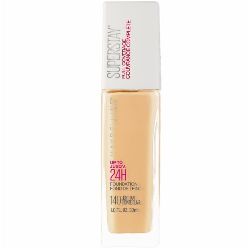 Maybelline Super Stay Full Coverage Light Tan Liquid Foundation Perspective: front